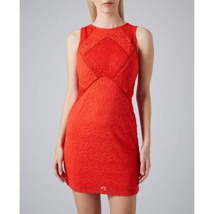 TOPSHOP Women's Red Lace Max Bodycon Dress
